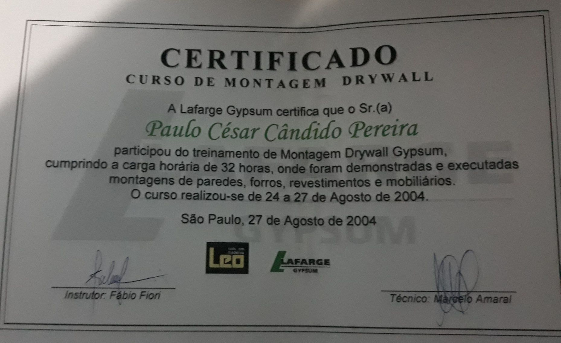 certificado de Drywall