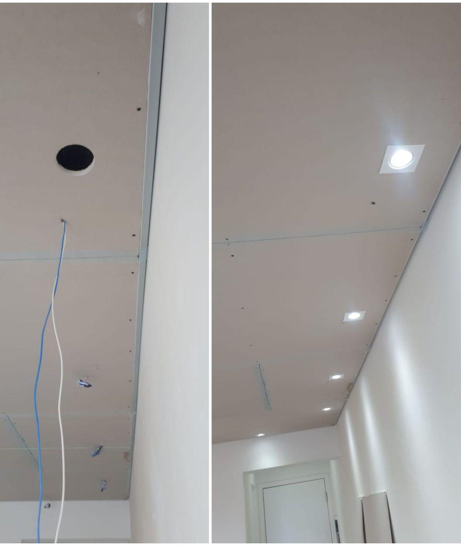 passagem de cabos e instalações de luminárias