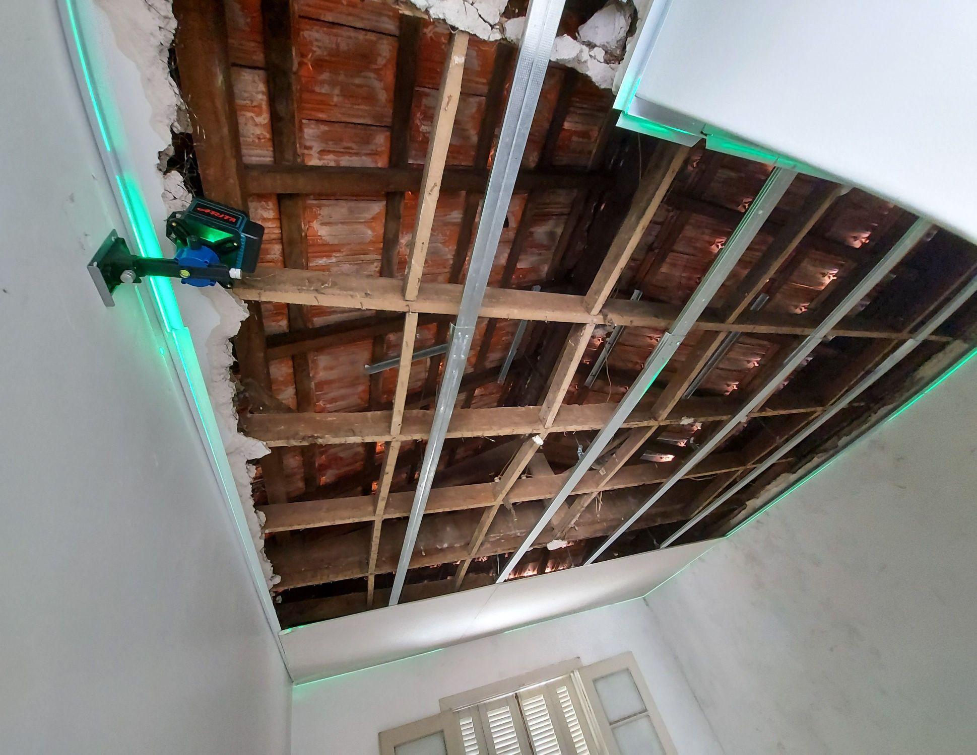 preparação para forro em Drywall