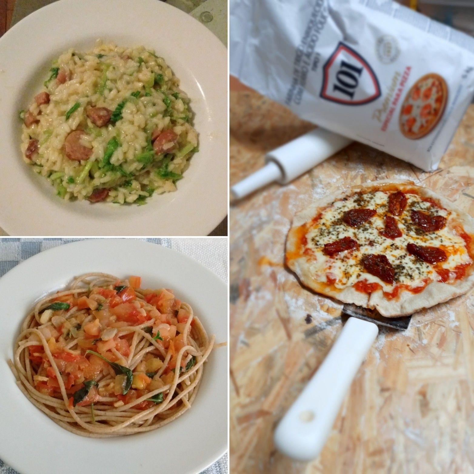 Risotto, espagueti e pizza com massa caseira.