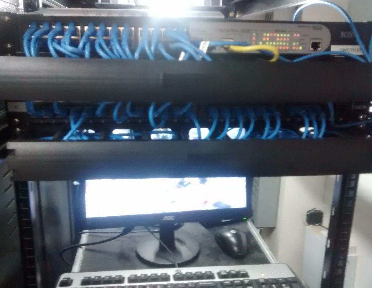 organização de cabeamento de rede